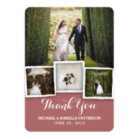 Vintage Marsala Wedding Photo Thank You Card