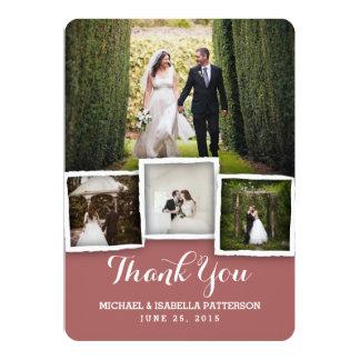 Vintage Marsala Wedding Photo Thank You Card