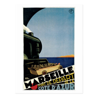 Vintage Marseille Cote d'Azur Travel Ad Postcard