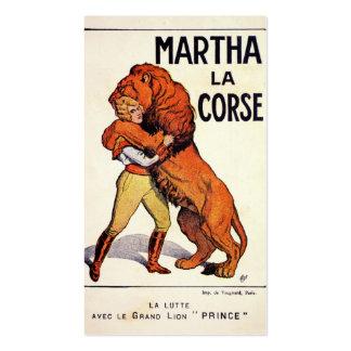 Vintage Martha La Corse Lion Tamer Business Card