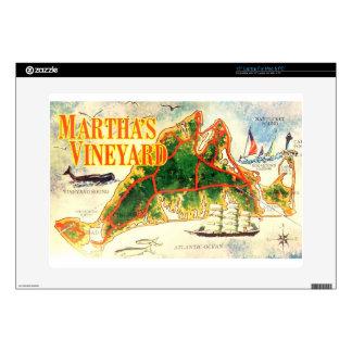 Vintage Martha s Vineyard Map Colorful Photo Skin For Laptop