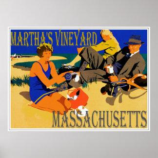 Vintage Martha's Vineyard Beach Scene Poster