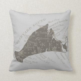 Vintage Martha's Vineyard, gray Throw Pillows