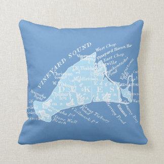 Vintage Martha's Vineyard, light blue + white Throw Pillow