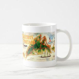 Vintage Martha's Vineyard Map Colorful Photo Classic White Coffee Mug