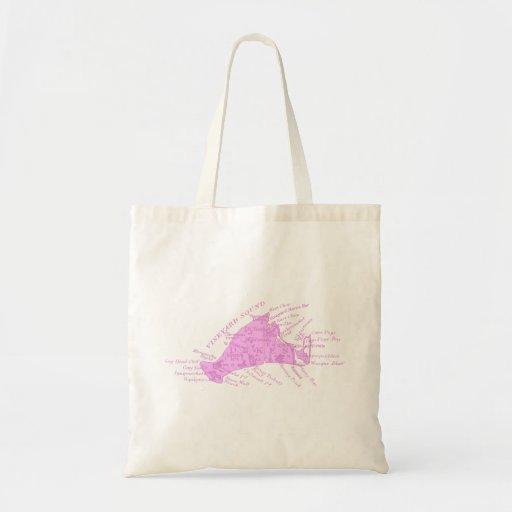 Vintage Martha's Vineyard, pink Canvas Bag