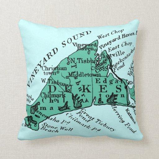 Vintage Martha's Vineyard, sea green Throw Pillow