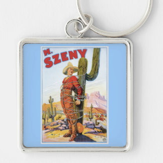 Vintage Martin Szeny Magician Advertising Silver-Colored Square Keychain