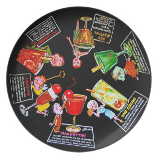 Vintage Martini Bar Drinks Comic Graphic Wall Deco Melamine Plate
