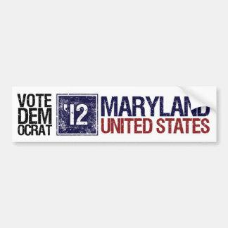 Vintage Maryland de Demócrata del voto en 2012 - Etiqueta De Parachoque
