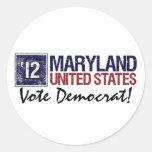 Vintage Maryland de Demócrata del voto en 2012 - Pegatinas Redondas