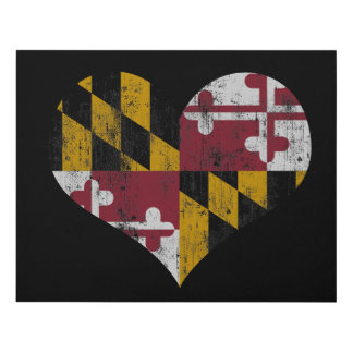 Vintage Maryland Flag Heart Panel Wall Art