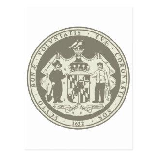 Vintage Maryland State Seal Postcard