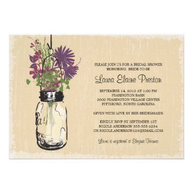 Vintage Mason Jar and Wildflowers Bridal Shower Personalized Invitation