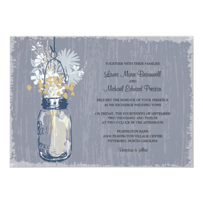 Vintage Mason Jar and Wildflowers Wedding Card