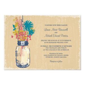 Vintage Mason Jar and Wildflowers Wedding Custom Invites