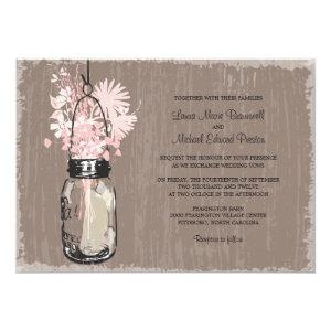 Vintage Mason Jar and Wildflowers Wedding Invitation