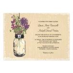 Vintage Mason Jar and Wildflowers Wedding Invite