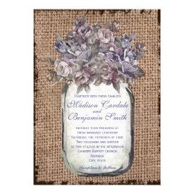 Vintage Mason Jar Burlap Rustic Wedding Invitation Personalized Invite