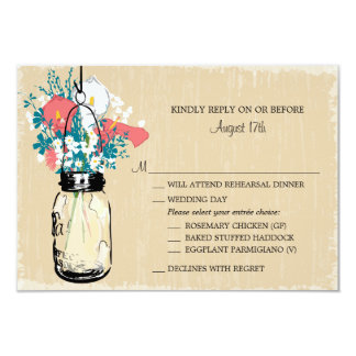 "Vintage Mason Jar Calla Lily Wildflowers RSVP 3.5"" X 5"" Invitation Card"