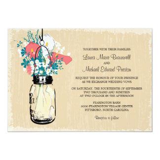 "Vintage Mason Jar Calla Lily  Wildflowers WeddinG 5"" X 7"" Invitation Card"