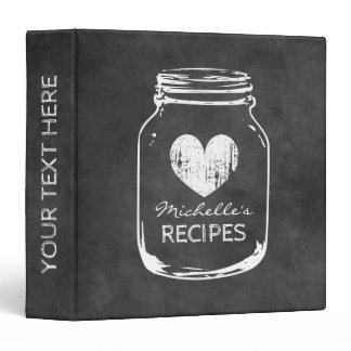 Vintage mason jar chalkboard recipe binder book