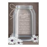 Vintage Mason Jar Daisy Brown Birthday Party Cards