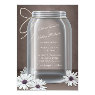 Vintage Mason Jar Daisy Brown Wedding Invitations