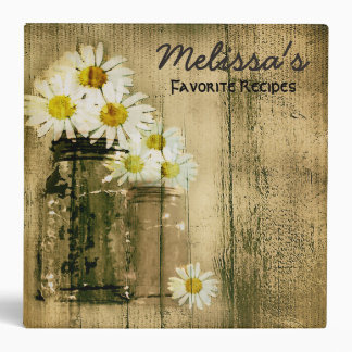 Vintage Mason Jar Daisy Recipe Binder