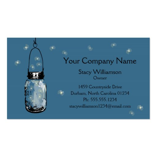 Vintage Mason Jar & Fireflies Business Card