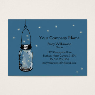 Vintage Mason Jar & Fireflies Business Card