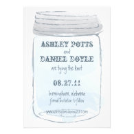 Vintage Mason Jar & Fireflies Save the Date Custom Invitation