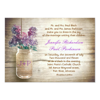 "vintage mason jar & flowers wedding invitation 5"" x 7"" invitation card"