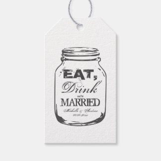 Vintage mason jar gift tags for wedding favors