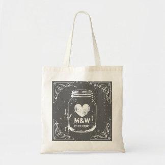 Vintage mason jar monogram wedding party tote bags