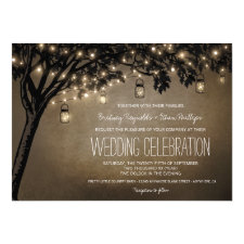 Vintage Mason Jar Oak Tree Wedding Invitations