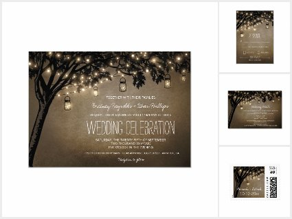 Vintage Mason Jar Oak Tree Wedding Invitations Set