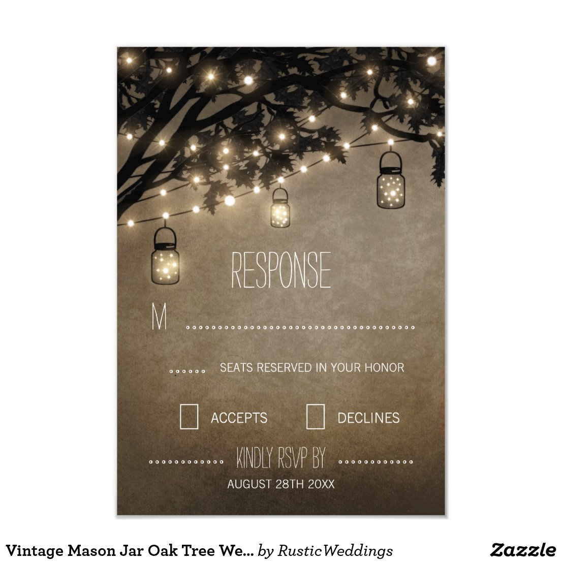 Vintage Mason Jar Oak Tree Wedding RSVP Cards