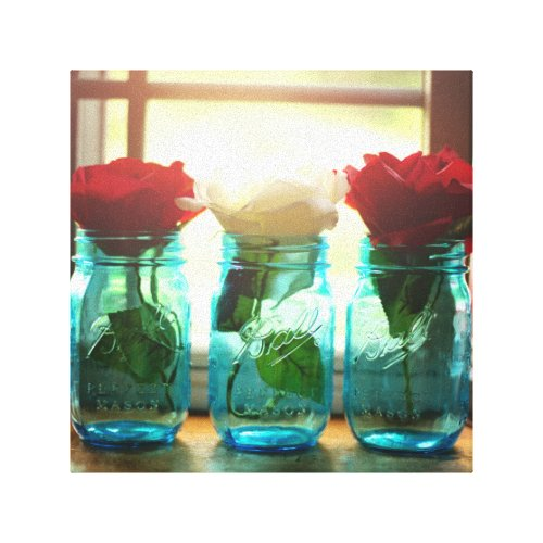 Vintage mason jar photo canvas print