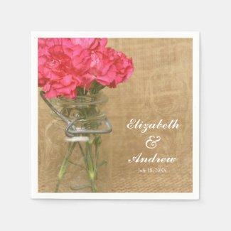 Vintage Mason Jar Pink Flower Personalized Wedding Paper Napkins