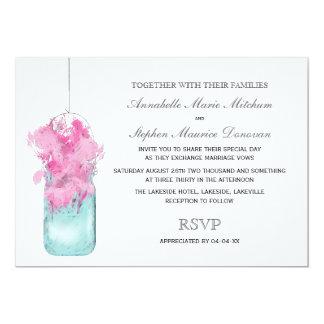 Vintage Mason Jar Pink Flowers Wedding Invitation