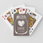 "Vintage mason jar playing cards wedding favor<br><div class=""desc"">Vintage mason jar playing cards wedding favor. Cute country chic design monogrammed with name initial of bride and groom plus date. Rustic faded heart icon with monogram. Wood grain panel background texture.</div>"