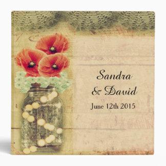 Vintage Mason Jar Poppy Wedding Photo Album Binder