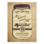 vintage mason jar rustic save the date personalized invites