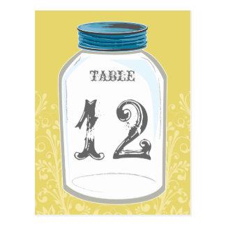 Vintage Mason Jar Table Number Card