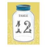 Vintage Mason Jar Table Number Card Post Card