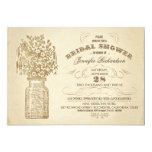 vintage mason jar typographic bridal shower invite