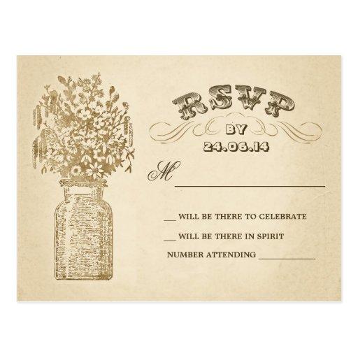 vintage mason jar wedding rsvp postcards | Zazzle