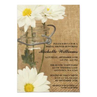 """Vintage Mason Jar White Daisies Bridal Shower 5"""" X 7"""" Invitation Card"""