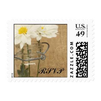 Vintage Mason Jar White Daisies Wedding RSVP Stamps
